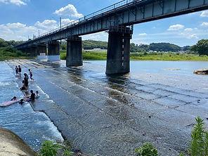クジラの化石が発見された多摩川鉄橋下