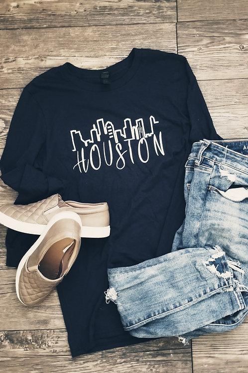 Houston Skyline Longsleeve {Navy}
