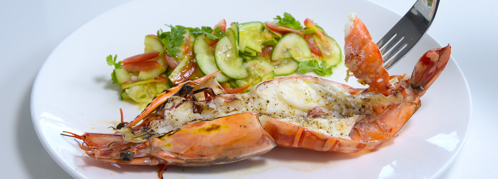 Grilled Tiger Prawns with cucumber salad