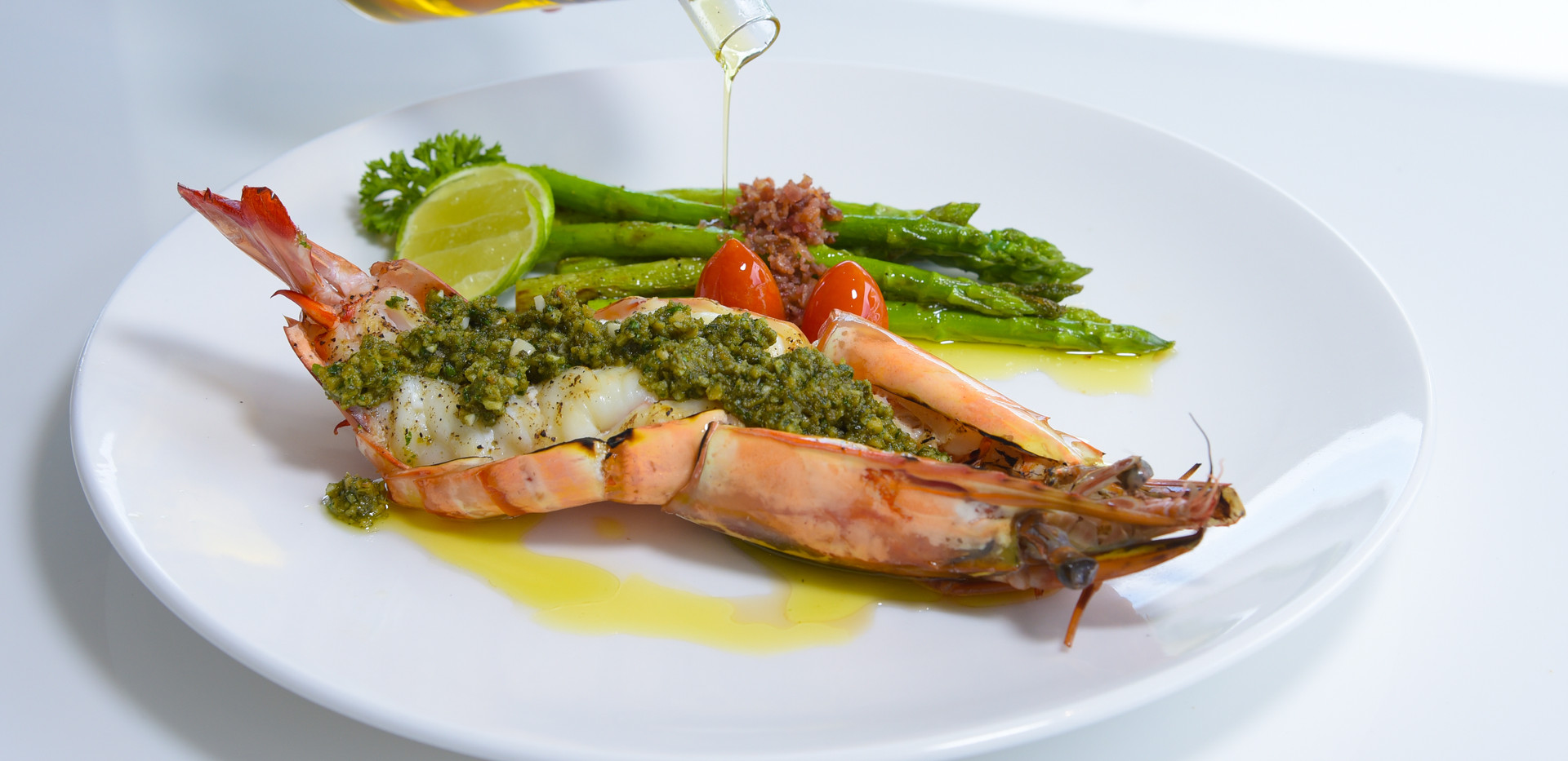 Grilled Tiger Prawns pesto with Asparagus.