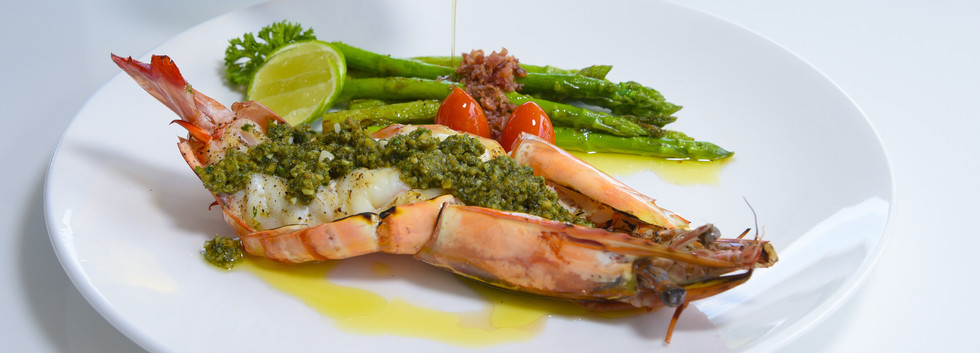Grilled Tiger Prawns pesto with Asparagus.