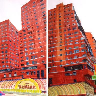 Red buildings
