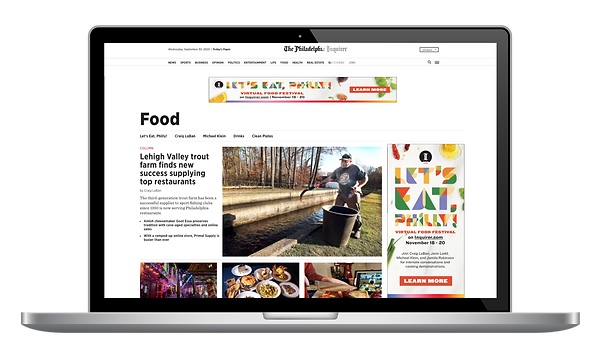 Let's Eat, Philly! Digital Ads for Food page.