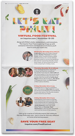 Print Ad for The Inquirer Virtual Food Festival