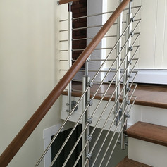 Side Mount Post, Tube Infill, Unfinished Beech Wood Handrail