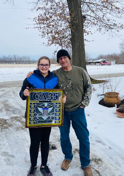 Stained glass art work - created by Shea, who worked with her cousin, artist Jeff Rutherfo