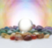 Crystal ball surrounded by healing cryst