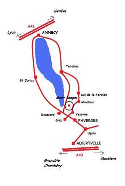 plan de situation et accès gite du mont bogon