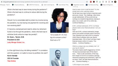Ask My Financial Advisor Blog - Dr. Kyla L. Tennin, D.M..