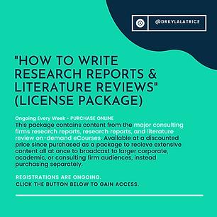 How To Write Research Reports & Literatu