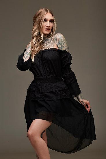 Black Short Ruffle Dress