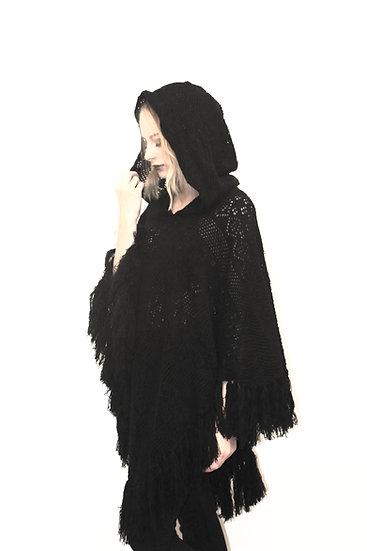 Raven Beauty Hooded Shawl
