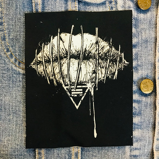Stitched Lips Canvas Patch