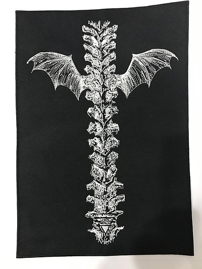 Embroidered Spine with Wings Back Patch