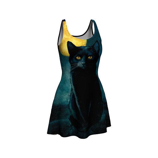 Golden Moon Black Cat Skater Dress