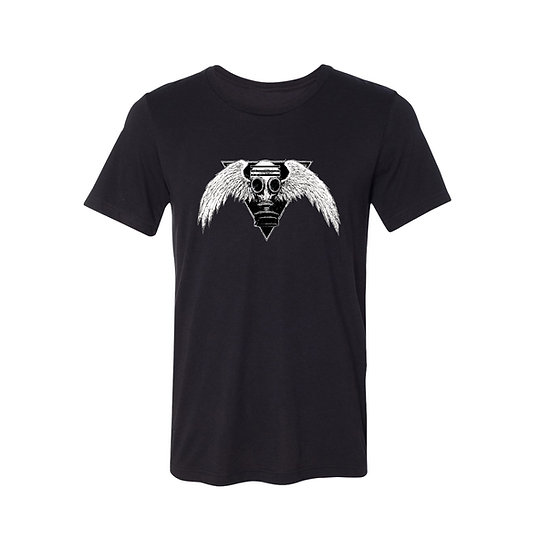 Black Gas Mask with Wings T-Shirt