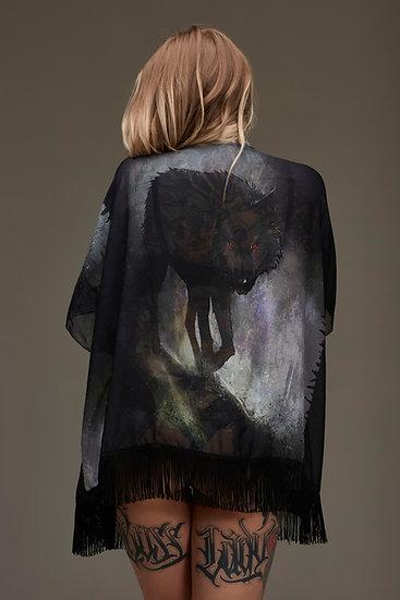 Black Wolf Draped Kimono