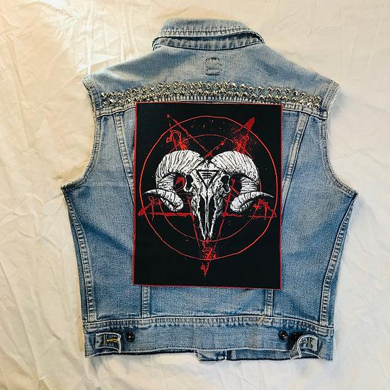 Satanic Ram Skull Back Patch