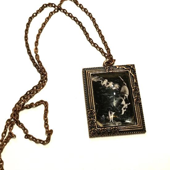 Bride of Frankenstein Frame Necklace