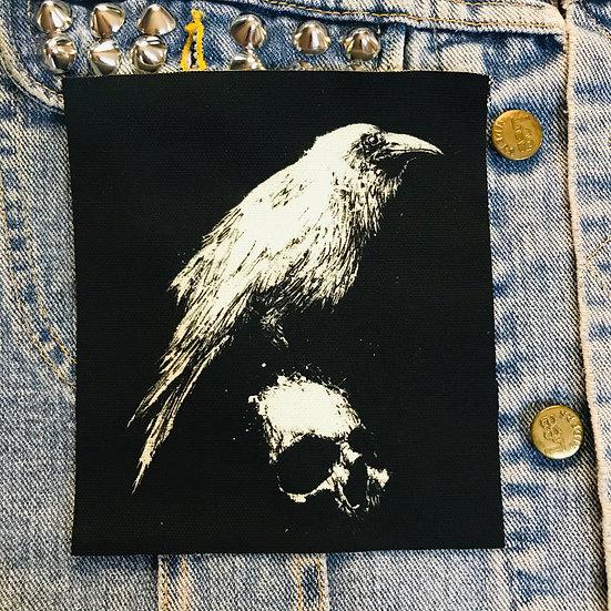 White Raven Canvas Patch