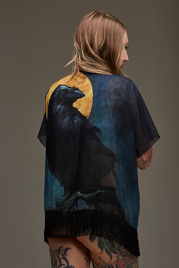 Golden Moon Raven Draped Kimono