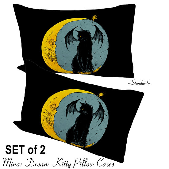 SET of 2: Mina Dream Kitty Pillow Cases