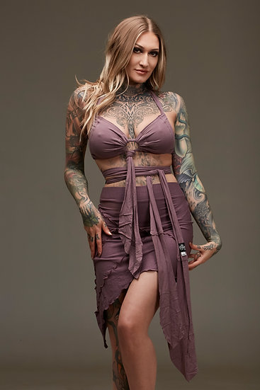 Lilac Leaf Bra and Skirt Combo