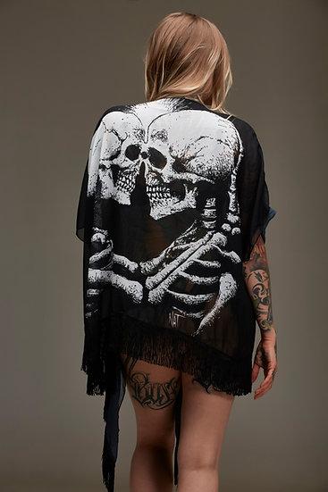 Skull Love Draped Kimono