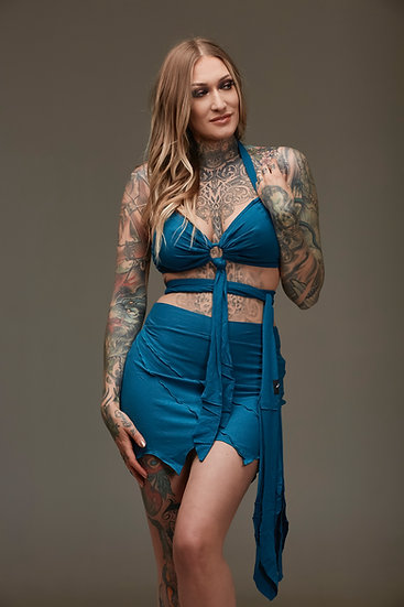 Teal Pixie Bra and Skirt Combo