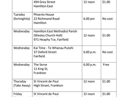 Community Meals Schedule 2020-2021
