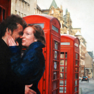 High Street Phone Boxes (oil on canvas) 46x35cm