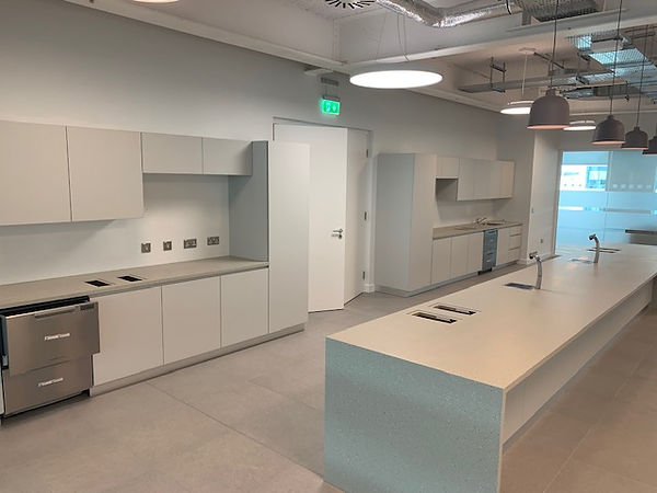 Office kitchen area painted