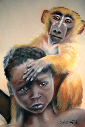 Boy and his monkey - soft pastel drawing