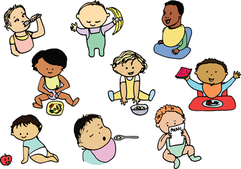 Illustrations for a baby research study about food