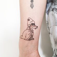 stick and poke sorry-oo moomins blackwork tattoo