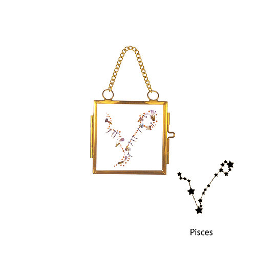 Pisces Constellation Handmade Mini Glass Hanging Frame