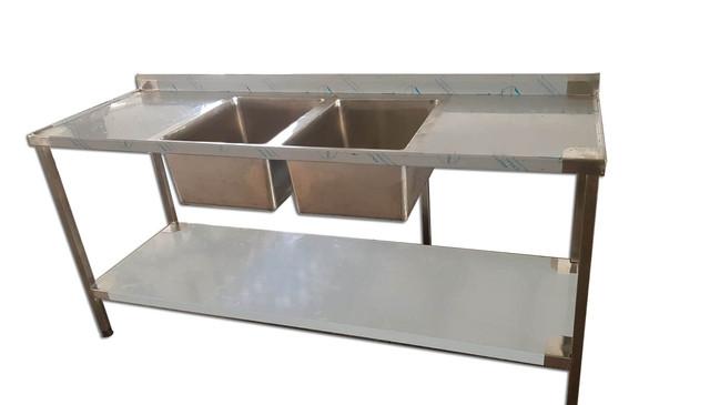שולחן נירוסטה עם 2 כיורים