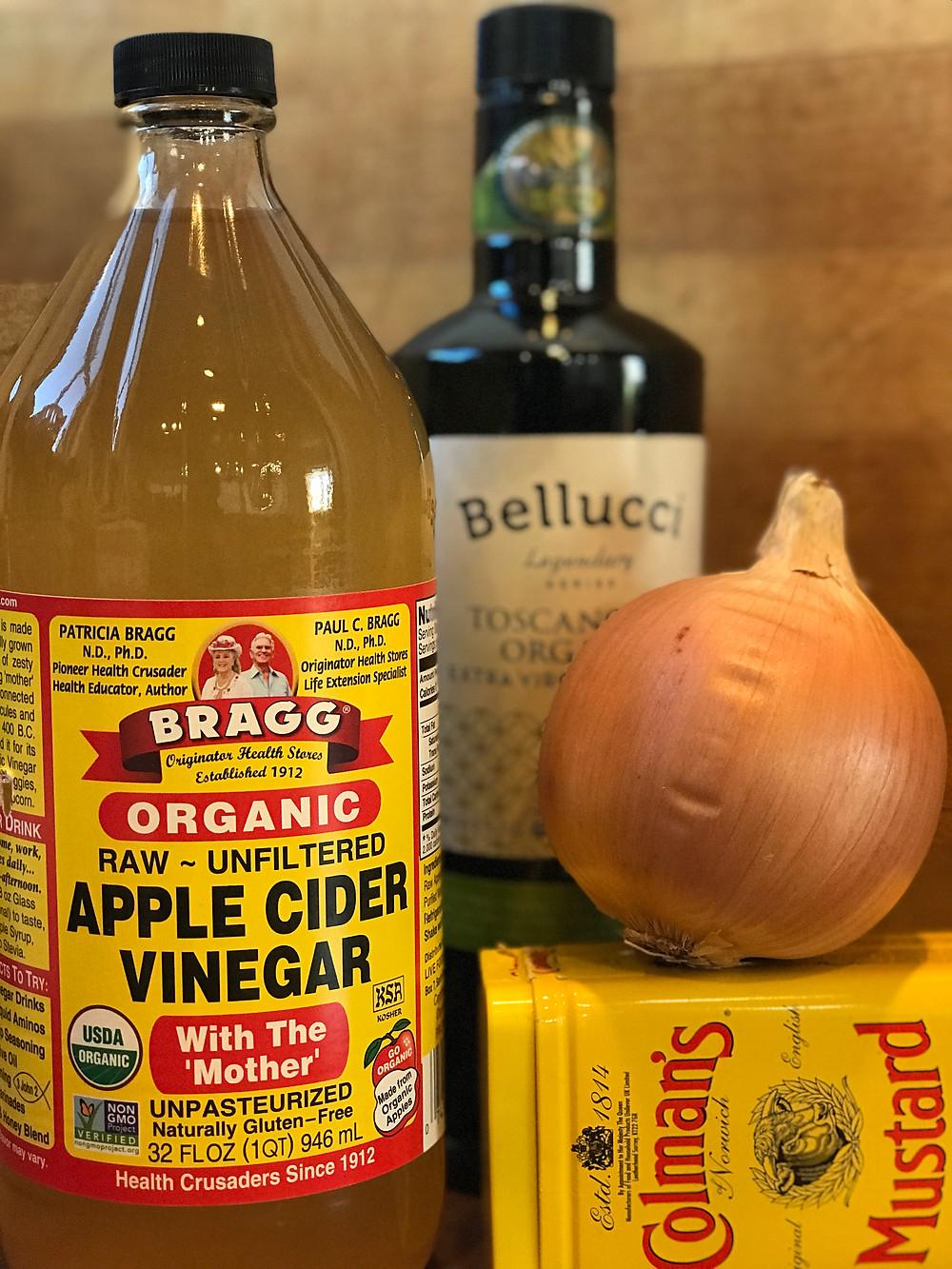 apple cider vinegar, onion, powered mustard, olive oil