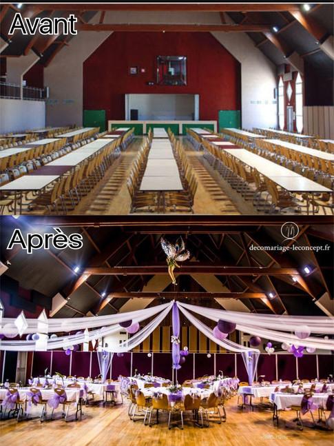 décoration de salle mariage avant et après