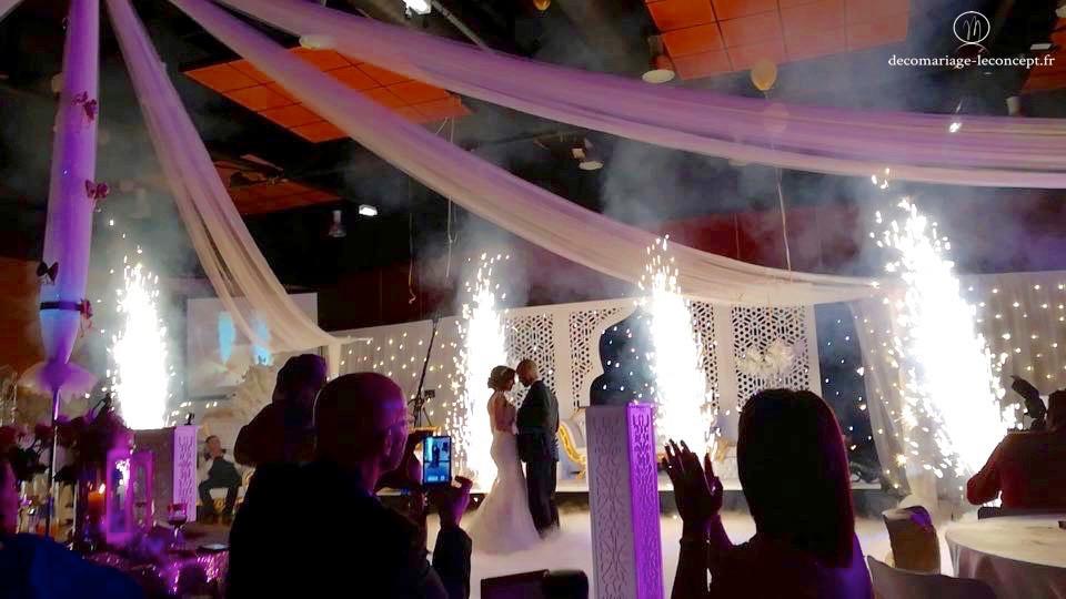 Les drapés au dessus des mariés lors de l'ouverture de bal