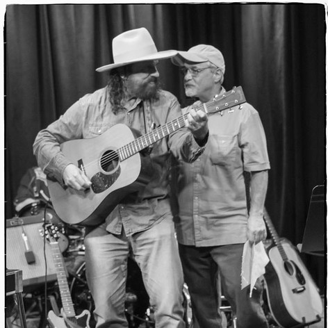 "The great songwriter Mike Beck and I performing at the Kuumbwa tribute to Larry Hosford. I sang ""Salinas"""