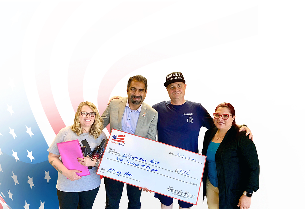Skywalker Group hands over an oversized check to the US military veteran family.