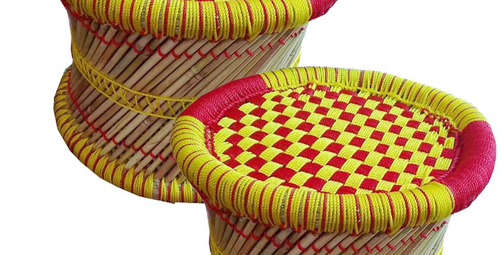 Combo Yellow & Red Bamboo Mudda Stool