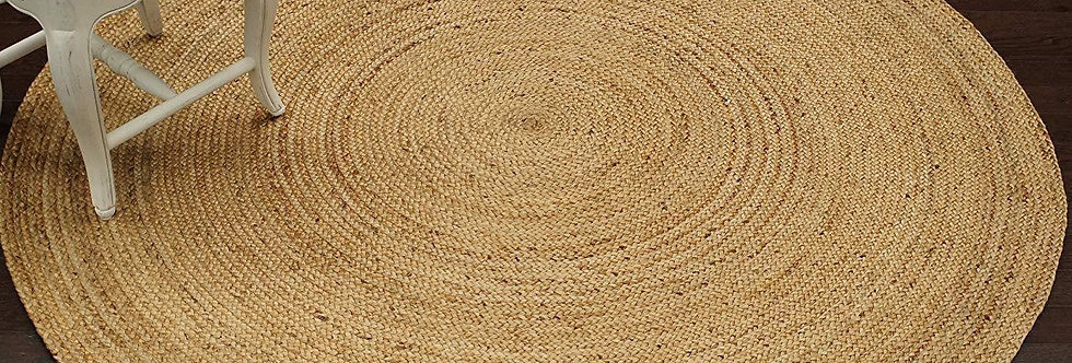 Natural Jute Round Rug With Beige