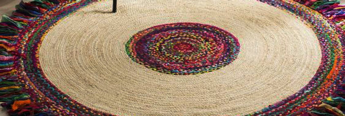 Multicolor Jute & Cotton Rug With Cutting Strips