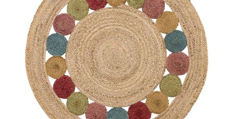 Jute Round Rug with Multicolor Multi Circle