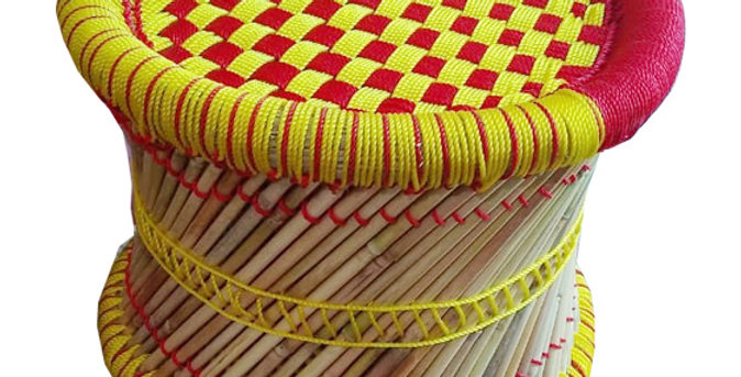 Yellow and Red Bamboo Stool