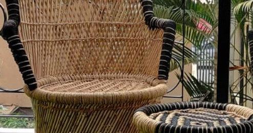 Handmakers ! Black & Beige Bamboo(SARKANDA) Chair With Stool