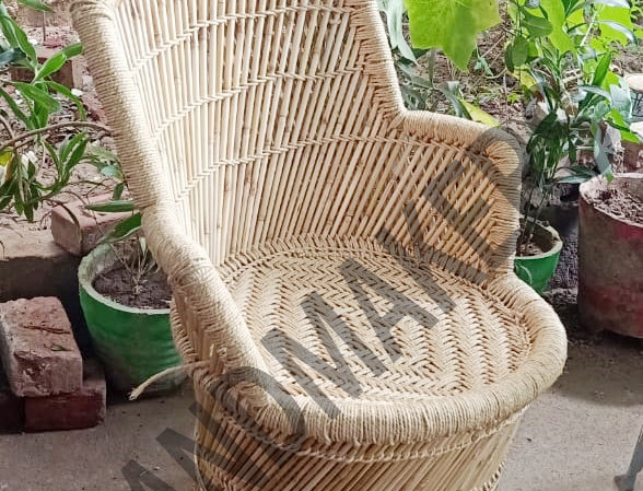Natural Bamboo Mudda Chair With Beige