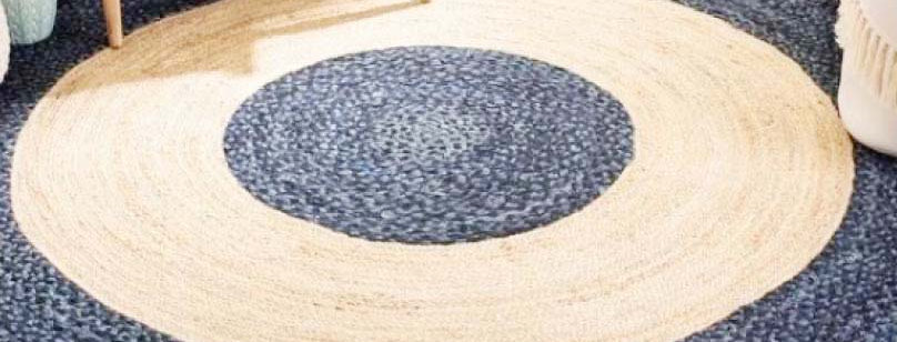 Natural Jute With Cotton Area Rug With Blue and Beige